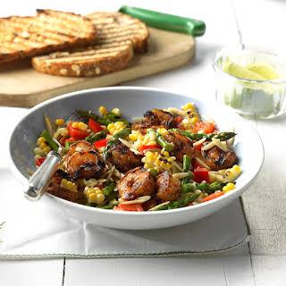 Grilled Jerk Shrimp Orzo Salad.