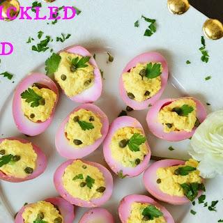 Beet Pickled Deviled Eggs.