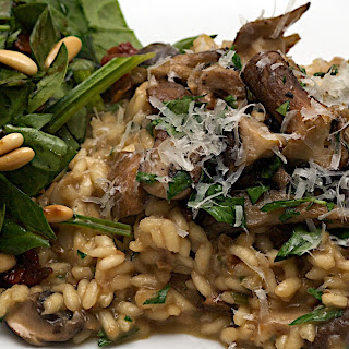 Jamie's 30 Minute Mushroom Risotto And Spinach Salad.