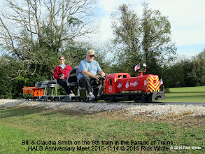 Photo: Bill & Claudia Smith on the 8th train in the Parade of Trains.   HALS Anniversary Meet 2015-1114 © 2015 Rick White