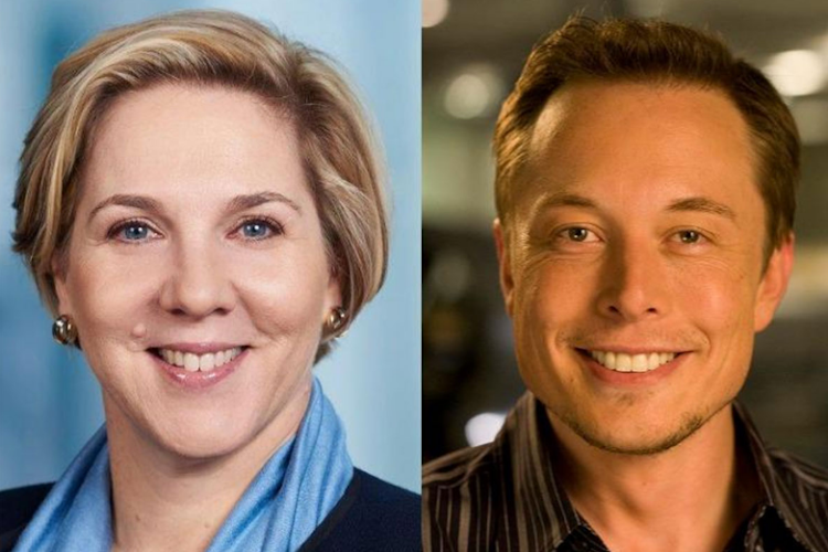 Robyn Denholm (left) is to replace Elon Musk (right) as chair of Tesla. Picture: GULF NEWS