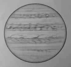 Photo: Jupiter le 16-17 avril 2017, entre 1h15 HL (haut du dessin) et 2h30 (bas du dessin). W2=48° pour SEB. T406 à 350X en bino, seeing moyen+.