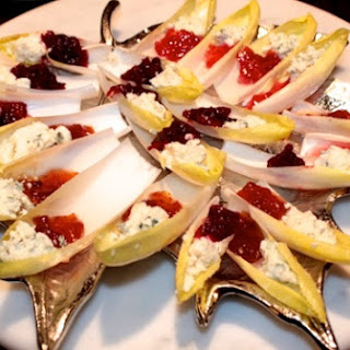 Cranberry Blue Cheese Stuffed Endive Leaves.