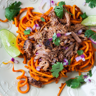 Spiralized Chipotle-Lime Sweet Potatoes with Sweet & Spicy Pulled Pork