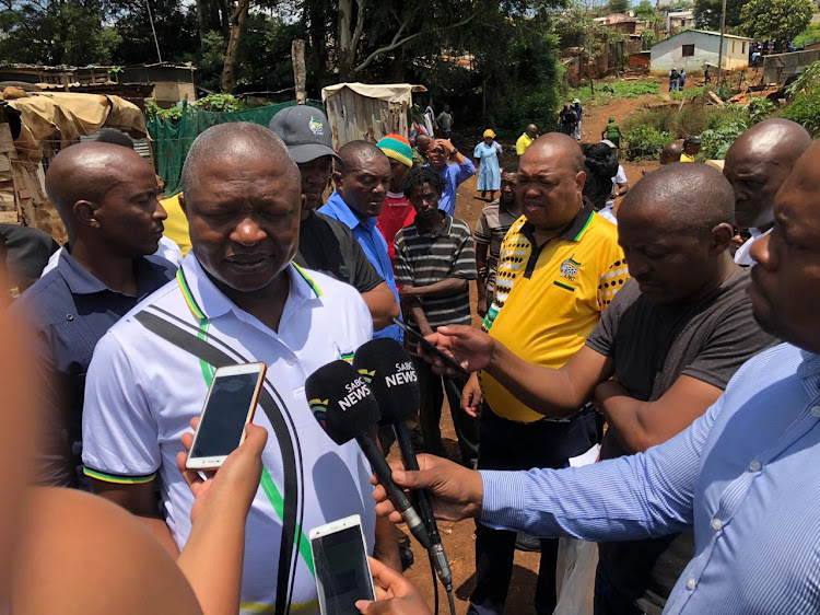 ANC deputy president David Mabuza, ANC KZN deputy chair Mike Mabuyakhulu and NEC member Naledi Pandor conduct a door-to-door campaign in Mpophomeni, near Howick, in KwaZulu-Natal, on January 9 2019.