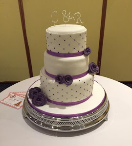 Purple and white diamantie wedding cake