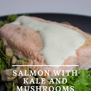 Healthy Salmon with Kale and Mushrooms.