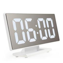 Ceas digital LED cu oglinda, litere mari, USB, temperatura