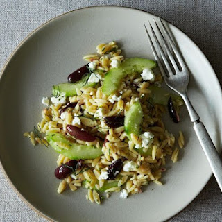 Lemon-Dill Orzo Pasta Salad with Cucumbers, Olives, and Feta.