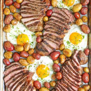 Sheet Pan Steak Eggs and Potatoes.
