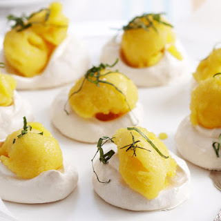 Lime Meringues with Mango Basil Sorbet