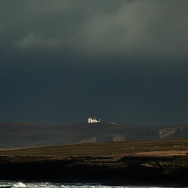 Lonely Home by Scott Hay - Landscapes Beaches ( scotland, cliffs, sea foam, white cottage, cottage, dark skies, by-the-sea )