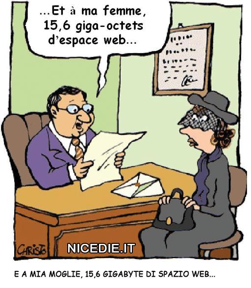 un notaio legge il testamento: Et à ma femme, 15,6 giga-octets d'espace web... (e a mia moglie 15,6 GigaByte di spazio web...)