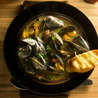 Spanish Mussels with Chorizo and Saffron Broth.