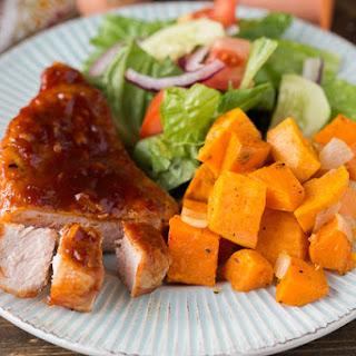 Maple Glazed Pork Chops with Sweet Potatoes.