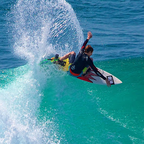 On the crest by Julie Steele - Sports & Fitness Surfing ( spray, steele, surfer, wave )