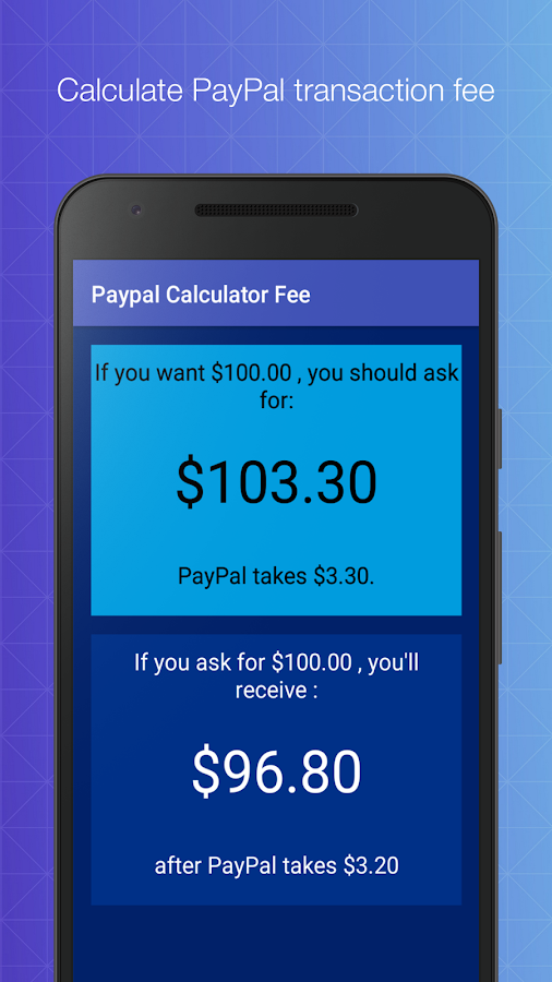 Paypal Fee Calculator (free)- screenshot