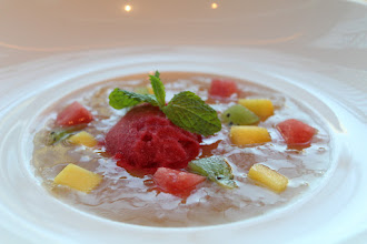 Photo: Try this healthy Singapore Fruit Soup with Raspberry Sorbet, all February at our Leisure Deck!