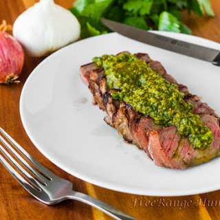 Grilled New York Strip Steak with Hatch Chile Chimichurri