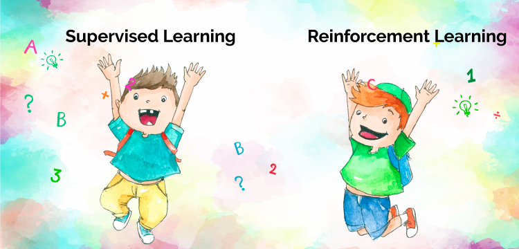 The cartoon image is showing the two different machine learning algorithms: supervised learning and reinforcement learning. Both learning methods have some common differences.