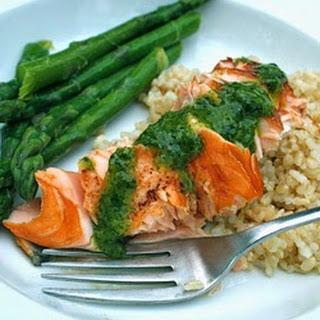 Roasted Salmon with Ginger-Cilantro Vinaigrette Recipe