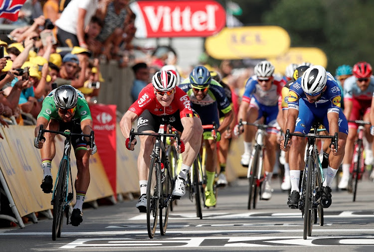 Quick-Step Floors rider Fernando Gaviria of Colombia wins the stage, ahead of BORA-Hansgrohe rider Peter Sagan of Slovakia and Lotto Soudal rider Andre Greipel of Germany.