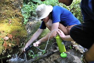 Photo: 沢で水汲み。携帯浄水器が便利。