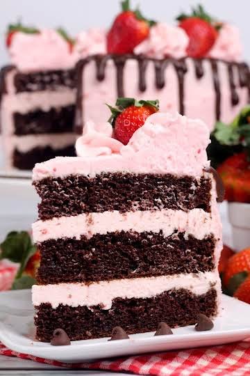 Chocolate Kahlua Cake with Strawberry Buttercream Frosting