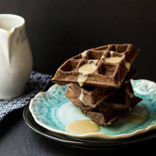 Chocolate Waffles with Whiskey Butter Sauce.