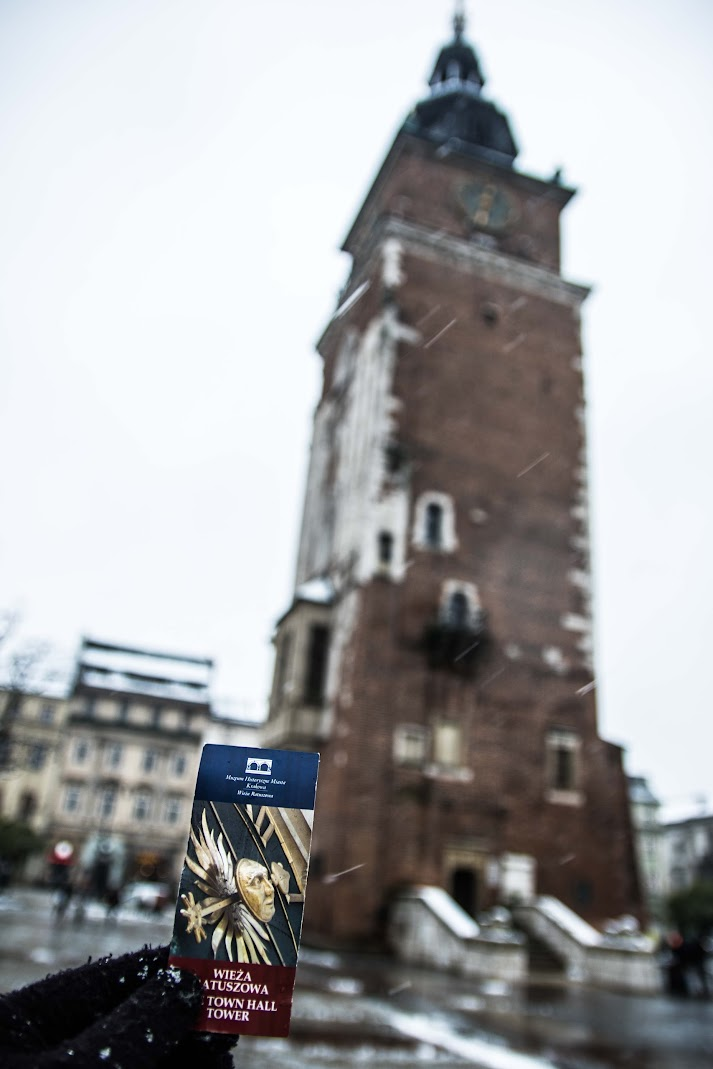town hall tower basilica in winter krakow