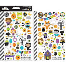 Doodlebug Mini Icons Cardstock Stickers - Pumpkin Party