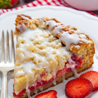 Strawberry Crumb Cake with Vanilla Glaze