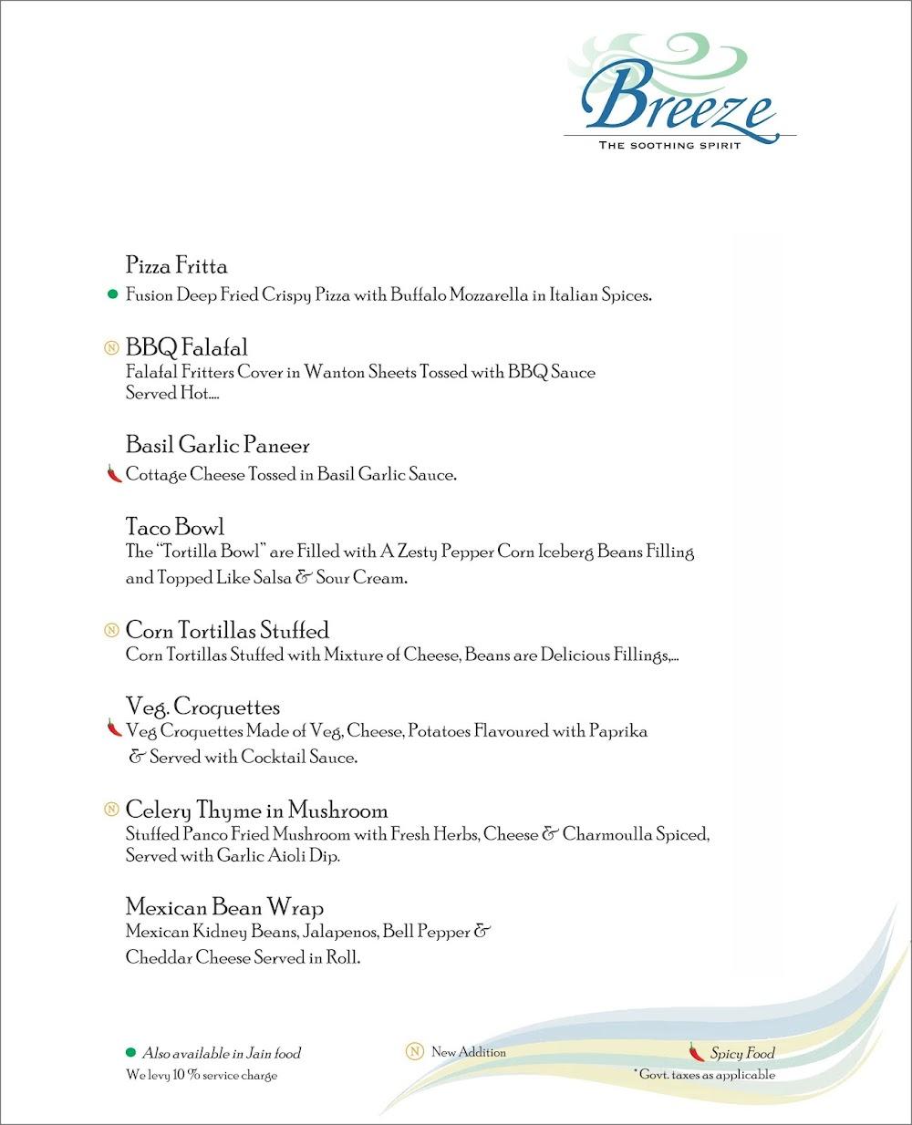 Breeze Lounge menu 3