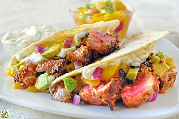 Ahi Tuna Tacos with Wasabi Cream and Mango Avocado Salsa Recipe ...