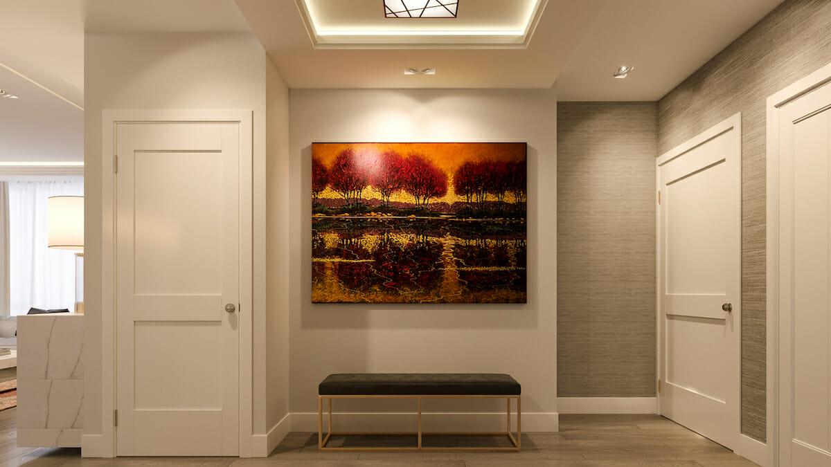 High-end interior design with a statement art piece by Mladen C