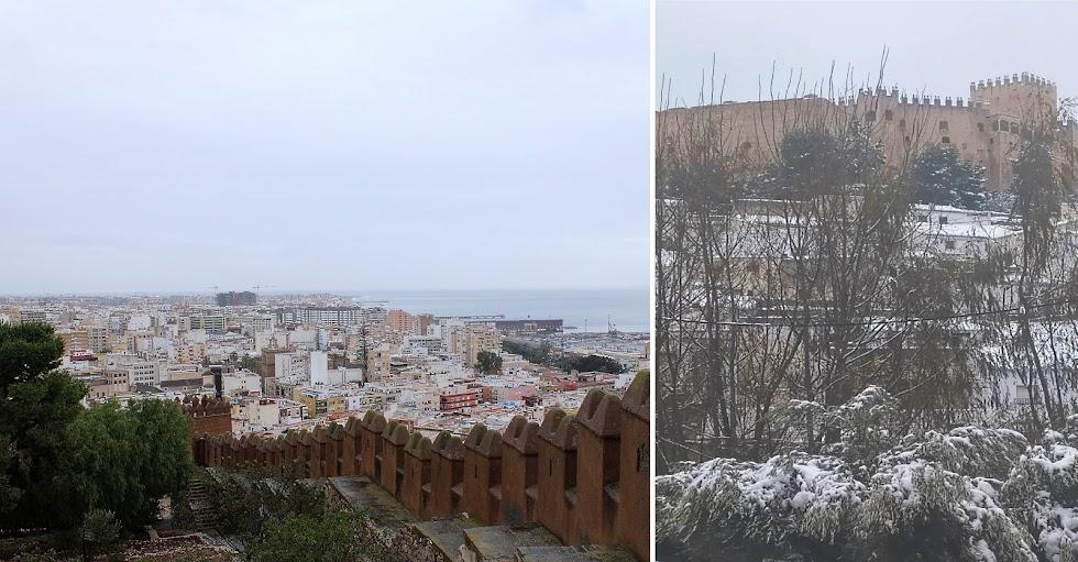 Lluvia en Almería, vista desde la Alcazaba; y nieve en Vélez-Blanco con el castillo-fortaleza de fondo.