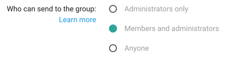 Selecting who can send to your group.