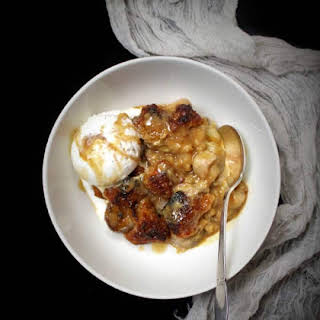 Vegan Bananas Foster Bread Pudding.