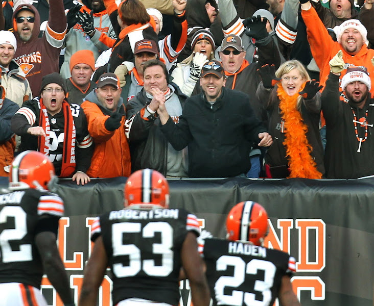 Photo: Joe Haden looks to the Dawg Pound after intercepting a pass. (Chuck Crow, The Plain Dealer)