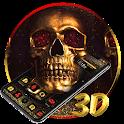 Golden Skull 3D Glass Tech Theme 💀 icon