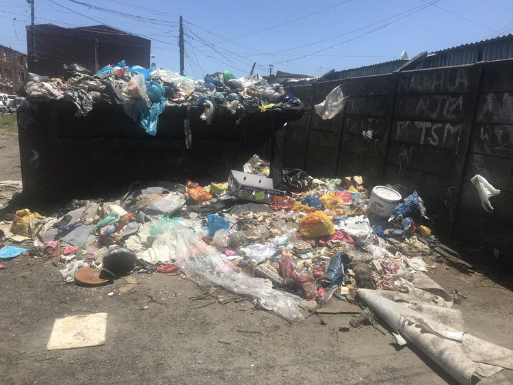 One of the many places where garbage is building up in Langa.