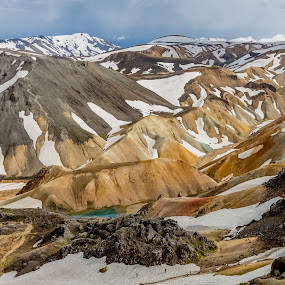 Yellow mountain by Ruslan Stepanov - Landscapes Mountains & Hills ( clouds, iceland, mountain, colors, snow, landscape, rocks )