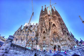 Photo: Basilica De La Sagrada Familia in Barcelona. On and off construction since 1882 and being built according to Antoni Gaudi's models.