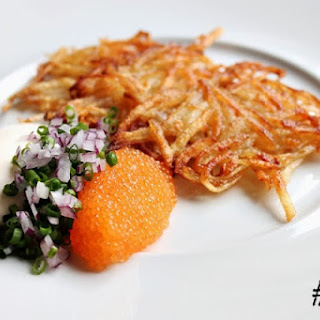 Grated Potato Pancakes With Bleak Roe, Sour Cream And Onions #117.