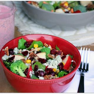 Crunchy Broccoli-Apple Salad with Creamy Raspberry Poppy Seed Dressing.