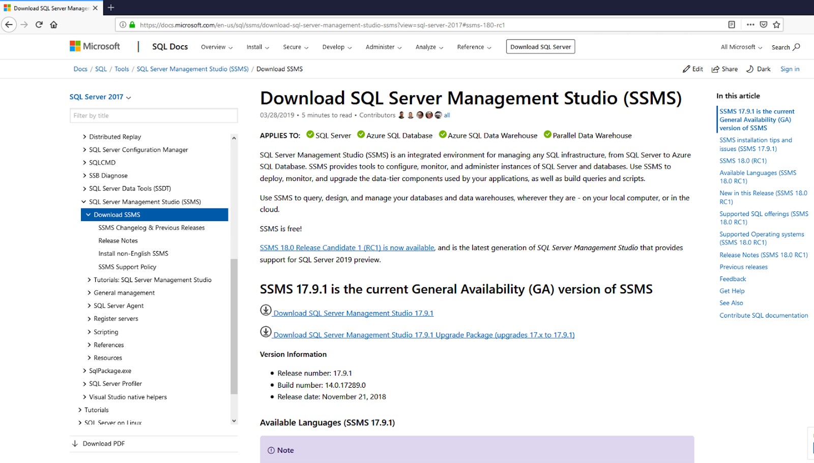 SQL Server Management Studio 2017 download page.