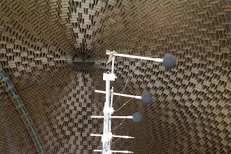 Photo: Close and distant microphone booms are utilized in the Aero-Acoustic Propulsion Laboratory (AAPL).