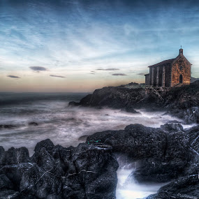 Holy Katalina by Laurentzi Martinez Morilla - Landscapes Waterscapes ( silk, church, hdr, cliff, sea, long exposure, landscape, , Water )