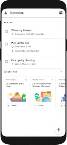Android Assistant reminder hub