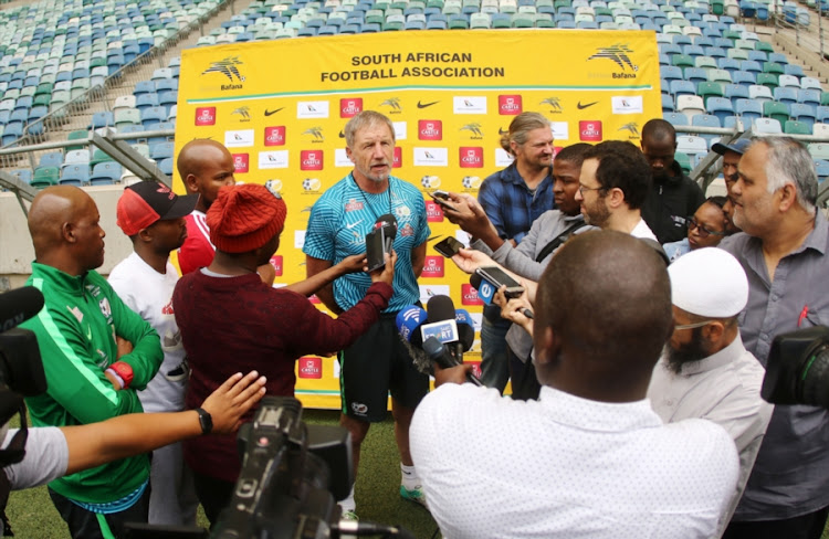Bafana Bafana head coach Stuart Baxter speaks to the media before the national team training session at Moses Mabhida Stadium in Durban on September 07, 2018.